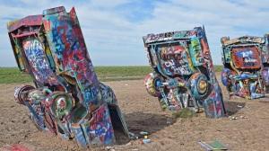 3 of the 10 buried Cadillacs at Cadillac Ranch, Amarillo, Tx