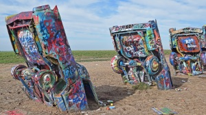 3 of the 10 buried Cadillacs at Cadillac Ranch, Amarillo, Tx