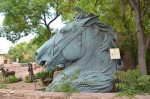 Horse head sculpture on Canyon Rd