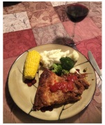 Dinner: a slice of meat pie served with veges and a glass of red wine!
