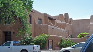 A typical Adobe Santa Fe style building