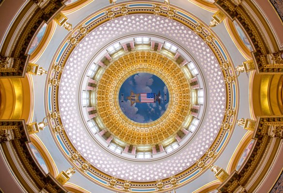 I took this photo actually lying on the floor underneath the dome!
