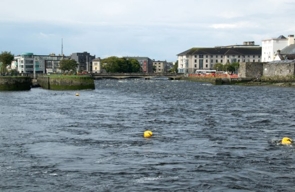 The River Corrib flows out into Galway Bay