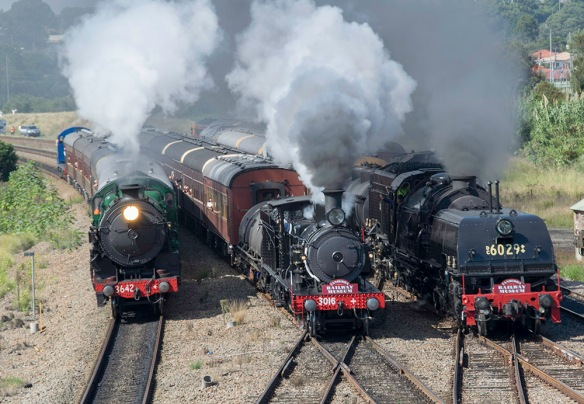 3 of the 4 steam engines approaching the station