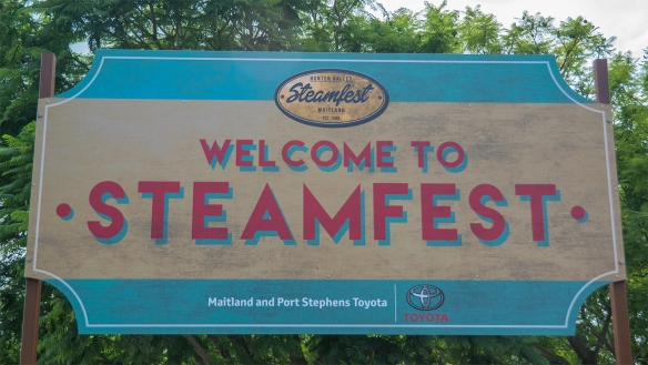 Steamfest signage at Maitland train station